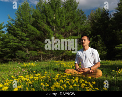 Asian man meditating outdoors au lever du soleil, dans la nature, assis en tailleur en vert l'été en plein air nature Banque D'Images