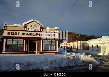 Bâtiments historiques en hiver, Balmoral, Maniototo, Central Otago, île du Sud, Nouvelle-Zélande Banque D'Images