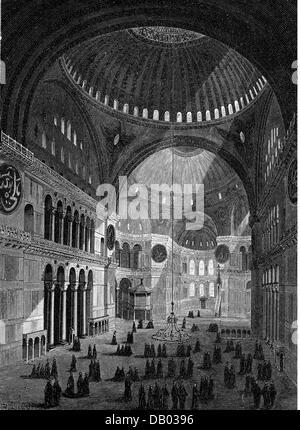 Géographie / Voyage, Turquie, Istanbul, Sainte-Sophie, vue intérieure, gravure en bois, 2ème moitié 19e siècle, Banque D'Images