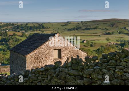 À la recherche sur le terrain, grange en pierre, pittoresque green terres agricoles vallonnées et collines de Wharfedale Banque D'Images