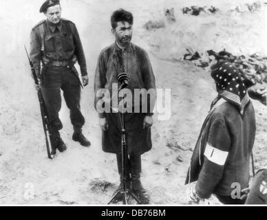 Le national-socialisme, les crimes, les camps de concentration, camp de Bergen-Belsen, docteur Fritz Klein, après Banque D'Images