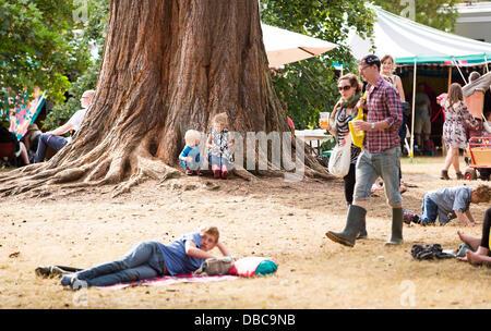 Malmesbury, UK. 28 juillet, 2013. Se détendre dans l'arboretum au festival WOMAD dans Charlton Park près de Malmesbury Banque D'Images