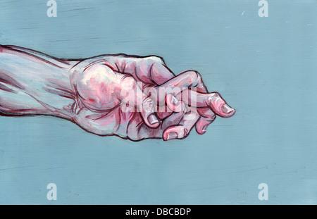 Image d'illustration de la main de l'homme avec les doigts faire loucher représentant l'arthrite Banque D'Images