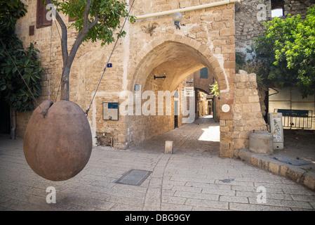 Monument à allée de jafo vieille ville à Tel Aviv, Israël Banque D'Images