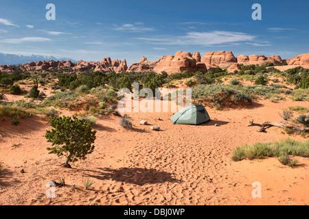 Camping dans le Jardin des Dieux, Arches National Park, Utah Banque D'Images