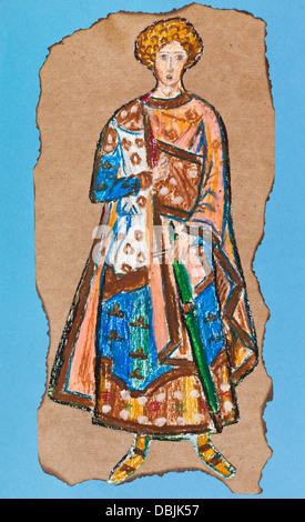 Costumes historiques - guerrier byzantin du 14ème siècle de style mosaïque dans l'église de Chora, Istanbul Banque D'Images