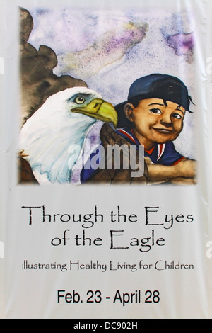 'À travers les yeux de l'Aigle' bannière en Virginia Living Museum Newport News, Virginie. Banque D'Images