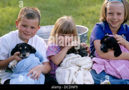 Trois enfants et leurs chiots Banque D'Images