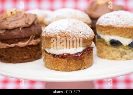 Une sélection de gâteaux faits maison mini sandwich Victoria sur un arrière-plan. Banque D'Images