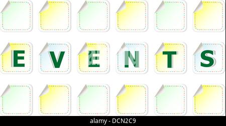 Events Nuage de mots écrits sur un autocollants Banque D'Images