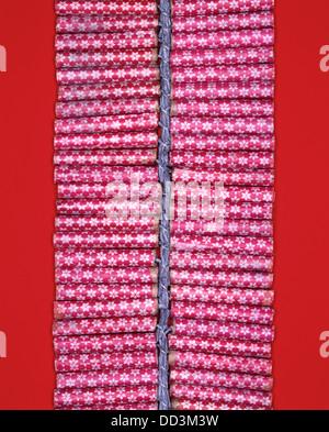 Une chaîne de pétards rouge tenue par un fusible. Fond rouge brillant Banque D'Images