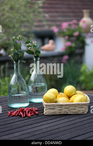 Peint blanc panier rempli de citrons, à côté d'une poignée de piment rouge, derrière 2 bouteilles en verre avec Banque D'Images