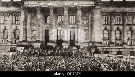 Le Reichstag de Berlin à protester contre le Traité de Versailles. 1919. (BSLOC_2012_4_199) Banque D'Images