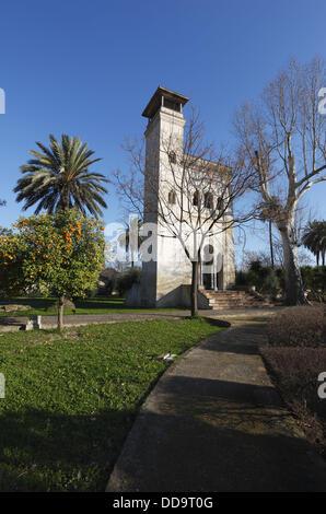 Jardins de la CAAC (Centre andalou d'Art Contemporain), ancien Santa Maria de Las Cuevas, Chartreuse, l'île de la Banque D'Images