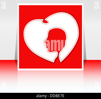 Les femmes de coeur, image stylisée de silhouette féminine en coeur blanc Banque D'Images