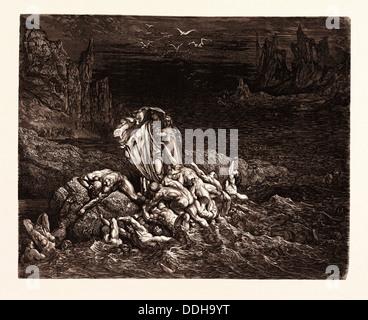 Le LAC STYGIAN DANS LE CINQUIÈME CERCLE DE L'ENFER, par Gustave Doré. Dore, 1832 - 1883, Français. Gravure pour Banque D'Images