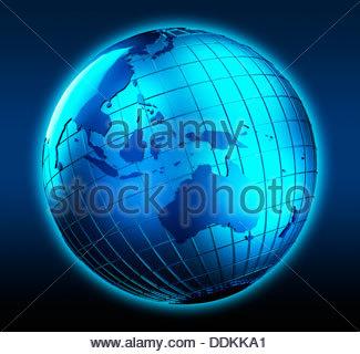 Globe bleu a porté sur l'Australie Banque D'Images
