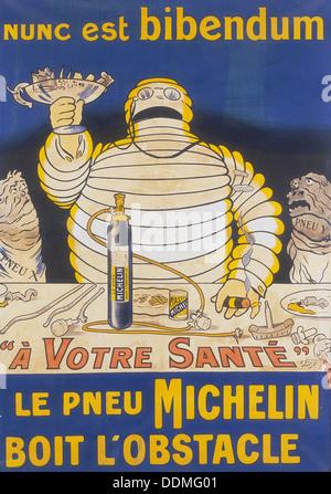 Poster avec Monsieur Bibendum Michelin publicité. Artiste: Inconnu Banque D'Images