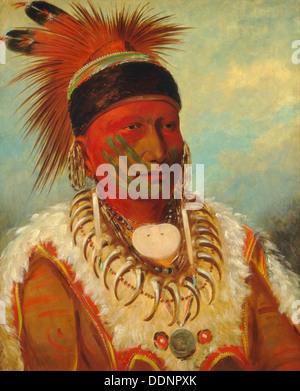 GEORGE Catlin (1796-1872) artiste américain. Peinture de la nuée blanche, grand chef de l'Iowas vers 1844 Banque D'Images