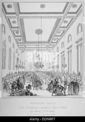 Intérieur du magasin d' Hall pendant un banquet, City of London, 1830. Artiste : T Kearnan Banque D'Images