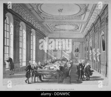 Intérieur de la salle avec les membres du conseil, le Collège des médecins, de la ville de Londres, 1808. Artiste: Banque D'Images