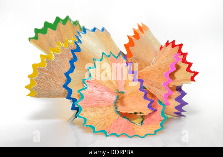 Copeaux de crayon - retour à l'école des objets créatifs Banque D'Images