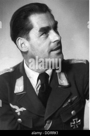 Deuxième Guerre mondiale / Seconde Guerre mondiale, propagande, correspondant de guerre de la Luftwaffe (force aérienne allemande) Georg Schödl, Compagnie de correspondant de guerre de la 3e Force aérienne, portrait, carte postale, 1942, droits supplémentaires-Clearences-non disponible