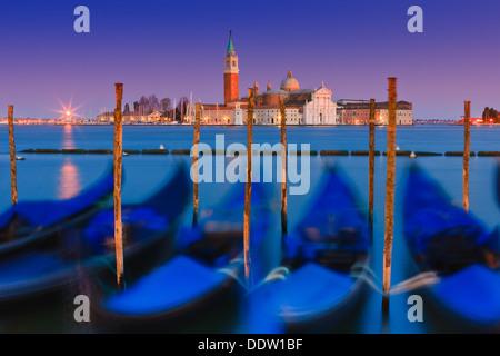 Coucher du soleil à Venise avec le point de vue de la place San Marco Banque D'Images