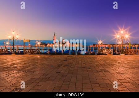 Lever du soleil à Venise avec le point de vue de la place San Marco Banque D'Images
