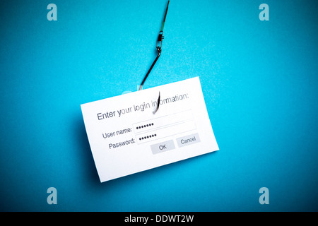 Concept de piratage ou d'hameçonnage un login et mot de passe avec fichier Banque D'Images