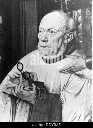 La médecine, l'ophtalmologie, le chanoine van der Paele avec des verres, la peinture de Jan van Eyck (vers 1390 Banque D'Images