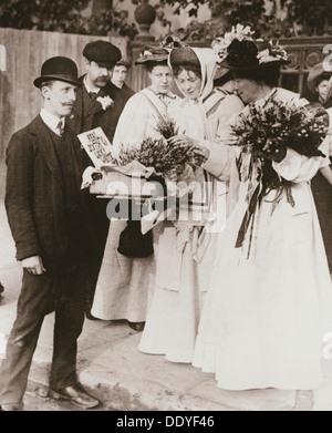 Sylvain Pankhurst et Emmeline Pethick-Lawrence (suffragettes, 18 Septembre, 1908. Artiste: Inconnu