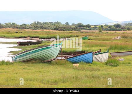Bateaux de pêche en bois colorés amarrés le long de Tourmakeady Lough Mask, Irlande