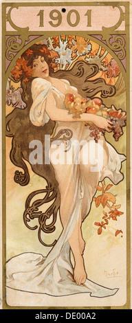 Calendrier pour l'année 1901, c1900. Artiste: Alphonse Mucha Banque D'Images