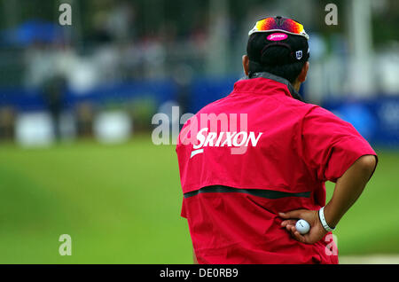 Greensboro, North Carolina, USA. Août 17, 2013. Hideki Matsuyama (JPN) Golf: troisième tour de l'Wyndham Championship Banque D'Images