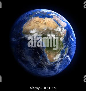La terre de l'espace montrant l'Afrique. Isolé sur le noir. D'autres orientations disponibles. Banque D'Images