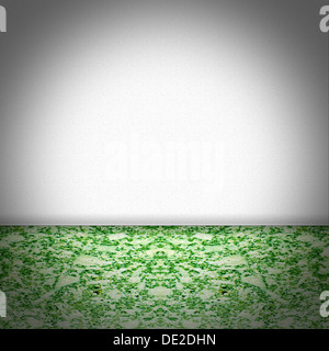 Chambre vide en marbre vert et blanc papier peint structuré Banque D'Images