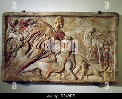 Un relief de Mithra tuant le taureau, la première de la vie de créatures dont le sang, de maïs et toutes les autres Banque D'Images