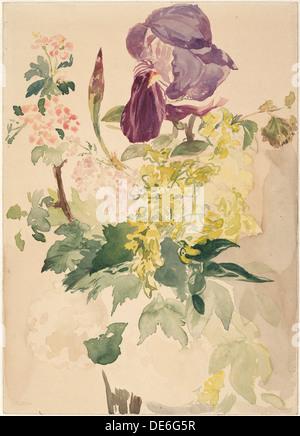 Pièce de fleurs avec Iris, Laburnum et le géranium, 1880. Artiste: Manet, Édouard (1832-1883) Banque D'Images