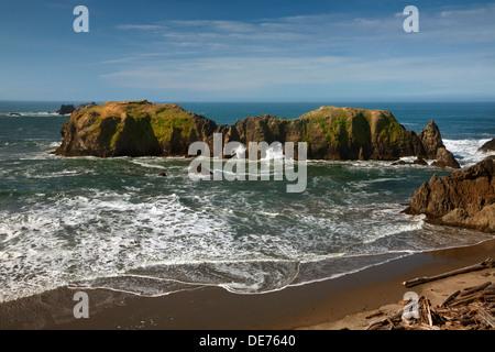 Ou01164-00...OREGON - vagues se briser à travers les arches naturelles dans la région de Elephant Rock off Point Banque D'Images