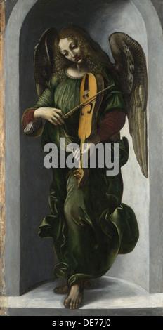 Un ange en vert avec une vielle, c. 1490-1499. Artiste: Leonardo da Vinci, (Cercle de) Banque D'Images