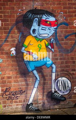 East End Londres Hackney Wick Île Poissons rue graffiti art mural urbain d'Amérique du Sud par Alex Senna Cranio Banque D'Images