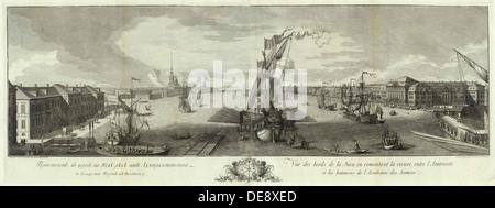 Vue de la Neva en aval de l'Admirality et l'Académie des Sciences (livre pour le 50e anniversaire de Saint-Pétersbourg), Banque D'Images