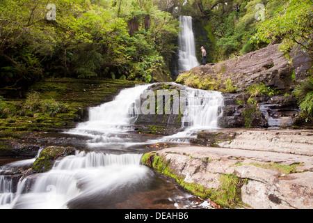 McLean Falls près de Papatowai, île du Sud, Nouvelle-Zélande Banque D'Images
