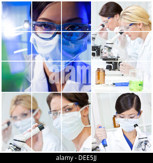Une équipe de chercheurs en sciences médicales des femmes Les femmes dans un laboratoire, à des microscopes Banque D'Images