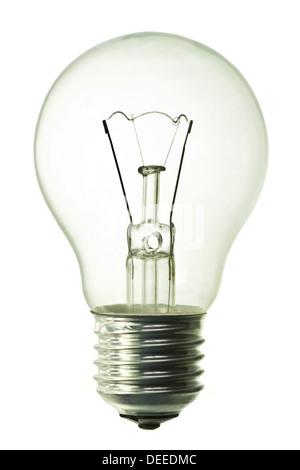 Ampoule électrique isolé sur fond blanc, pur Banque D'Images