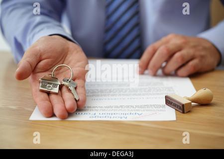 Remise des clés de la maison Banque D'Images