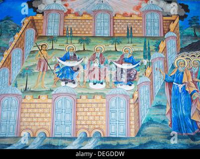 Fresques de Monastère de Rila, classé au Patrimoine Mondial de l'UNESCO, Bulgarie, Europe Banque D'Images