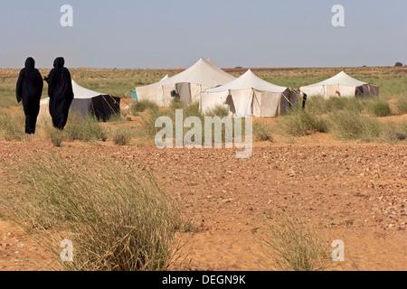 Deux femmes de la famille nomade, portant la robe traditionnelle mauritanienne, mulafa, marcher jusqu'à leur accueil Banque D'Images
