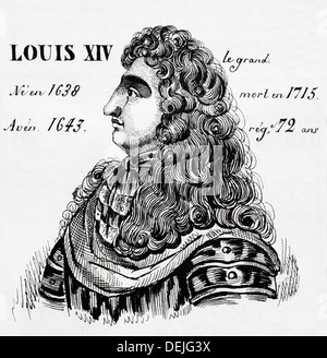 Louis XIV, le Grand, roi de France de 1647 à 1715. Histoire de France, par J.Henry (Paris, 1842) Banque D'Images